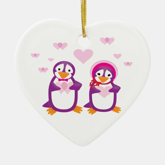 Customizable Purple Valentine Penguins Ornament