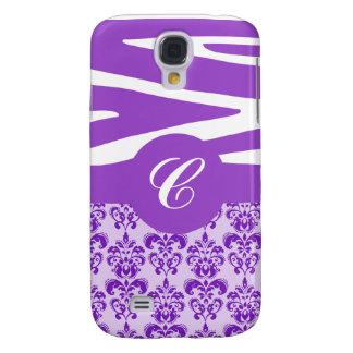 Customizable Purple Zebra & Damask iPhone Case Galaxy S4 Case