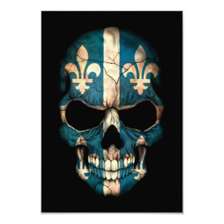Customizable Quebec Flag Skull 3.5x5 Paper Invitation Card