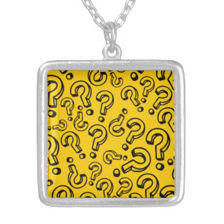 Customizable Question Marks Silver Plated Necklace