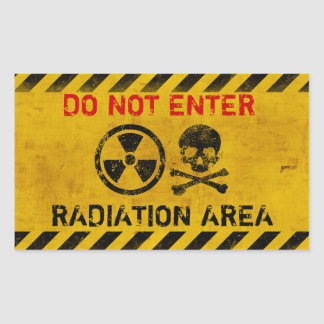 Customizable Radiation Hazard Sign Rectangular Sticker