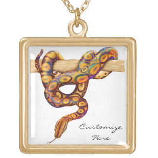 Customizable Rainbow Boa Constrictor Snake Necklac Square Pendant Necklace