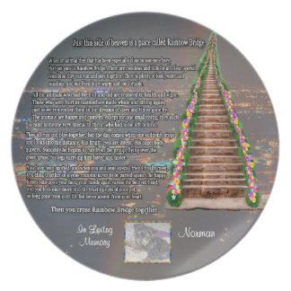 Customizable Rainbow Bridge Photo Pet Memorial Plate