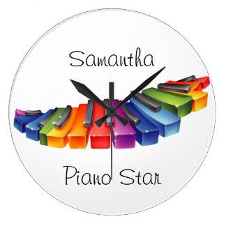 Customizable Rainbow Piano Keys Large Clock