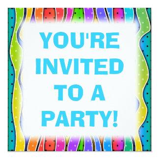 "Customizable RAINBOW STRIPES PARTY INVITATION 5.25"" Square Invitation Card"