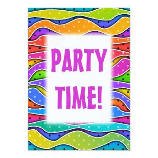 "Customizable RAINBOW STRIPES PARTY INVITATION 5"" X 7"" Invitation Card"