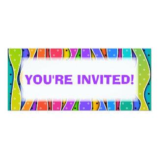 "Customizable RAINBOW STRIPES PARTY INVITATION 4"" X 9.25"" Invitation Card"