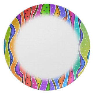 Customizable RAINBOW STRIPES PLATE