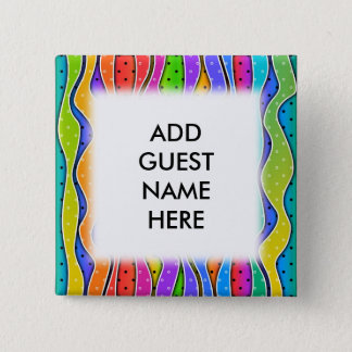 Customizable RAINBOW STRIPES Square BUTTONS