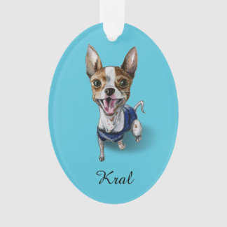 Customizable Rat Terrier Dog Watercolor Painting Ornament