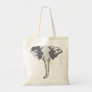 customizable realistic elephant with tusks tote bag