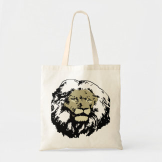 customizable realistic lion face budget tote bag