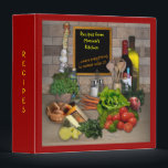 """Customizable Recipes Binder<br><div class=""""desc"""">Decorative kitchen scene with a blackboard that shows the text &quot;Recipes from Monica&#39;s Kitchen, where everything is cooked with (heart). And the first half of this text is the part you can edit (maybe you just want to change the name). The picture on the back side has the text &quot;This...</div>"""
