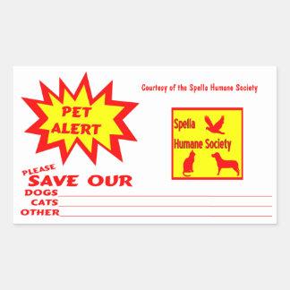 Customizable Rectangle Emergency Pet Alert Rectangular Sticker
