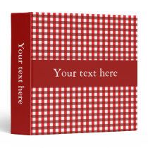 Customizable Red and White Gingham Pattern 3 Ring Binder