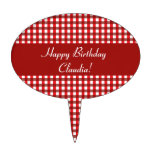 Customizable Red and White Gingham Pattern Cake Topper