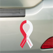 Customizable Red and White Ribbon Awareness Car Magnet