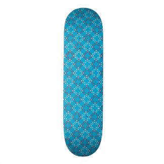 Customizable Red and White Square pattern (BLUE) Skateboard
