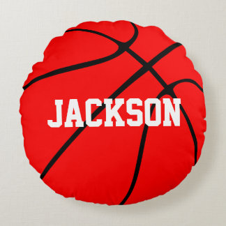 Customizable Red Basketball Round Throw Pillow