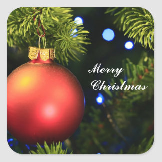 Customizable Red bauble on a Christmas tree Square Sticker