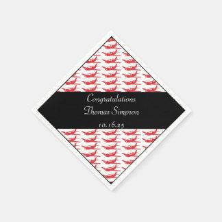 Customizable red black airplane napkins