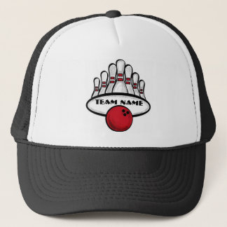 Customizable red bowling team sport hat