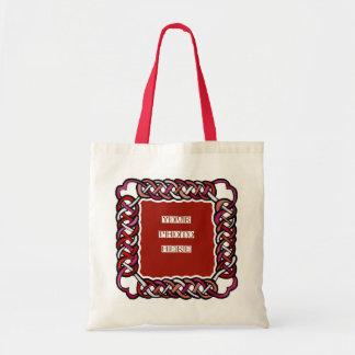 Customizable Red Celtic Knotwork Frame Canvas Bag