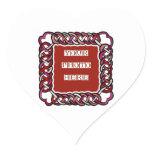 Customizable Red Celtic Knotwork Frame Heart Sticker