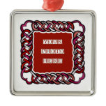Customizable Red Celtic Knotwork Frame Ornament