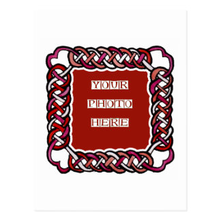 Customizable Red Celtic Knotwork Frame Post Card