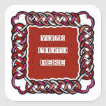 Customizable Red Celtic Knotwork Frame Square Sticker