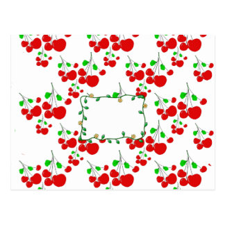 Customizable red cherry pattern accessories LeahG Postcard