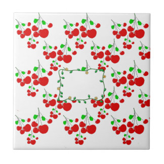 Customizable red cherry pattern accessories LeahG Ceramic Tiles