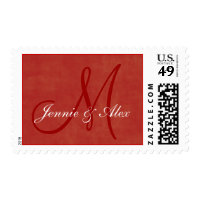 Customizable Red Christmas Monogram Postage Stamps