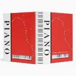 "Customizable Red Grand Piano 1"" Binder"