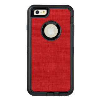 Customizable Red Linen Photo Background OtterBox Defender iPhone Case