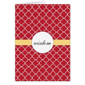 Customizable Red Quatrefoil Pattern Card