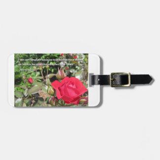 Customizable Red Rose Luggage Tag - Gratitude
