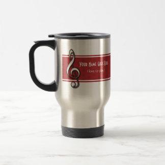 Customizable Red Treble Clef Mug