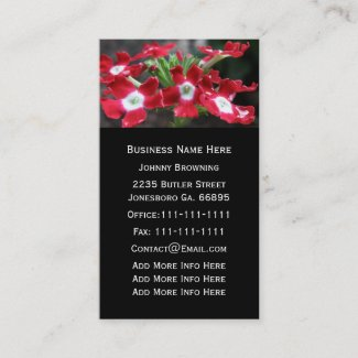 Customizable Red Verbena Floral Business Card