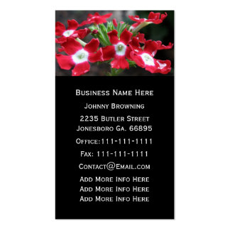 Customizable Red Verbena Floral Business Card
