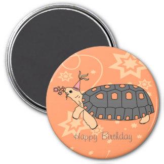 Customizable Redfoot Tortoise Birthday Magnet 1