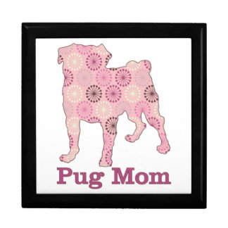 Customizable Retro Abstract Pink and Brown Pug Mom Gift Boxes