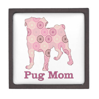 Customizable Retro Abstract Pink and Brown Pug Mom Premium Trinket Boxes