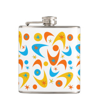 Customizable Retro Boomerangs Flask