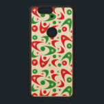 """Customizable Retro Christmas Boomerangs Wood Nexus 6P Case<br><div class=""""desc"""">Retro Christmas boomerangs phone case.  Background color and style can be customized.</div>"""