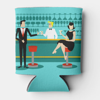 Customizable Retro Cocktail Lounge Can Cooler