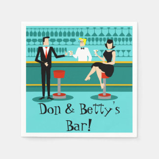 Customizable Retro Cocktail Lounge Paper Napkins