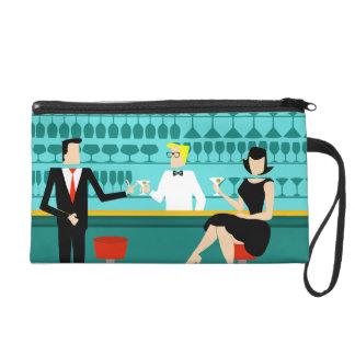 Customizable Retro Cocktail Lounge Wristet Wristlet