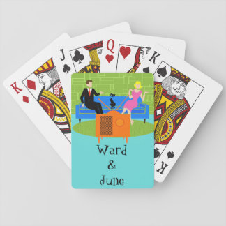 Customizable Retro Couple with Cat Playing Cards